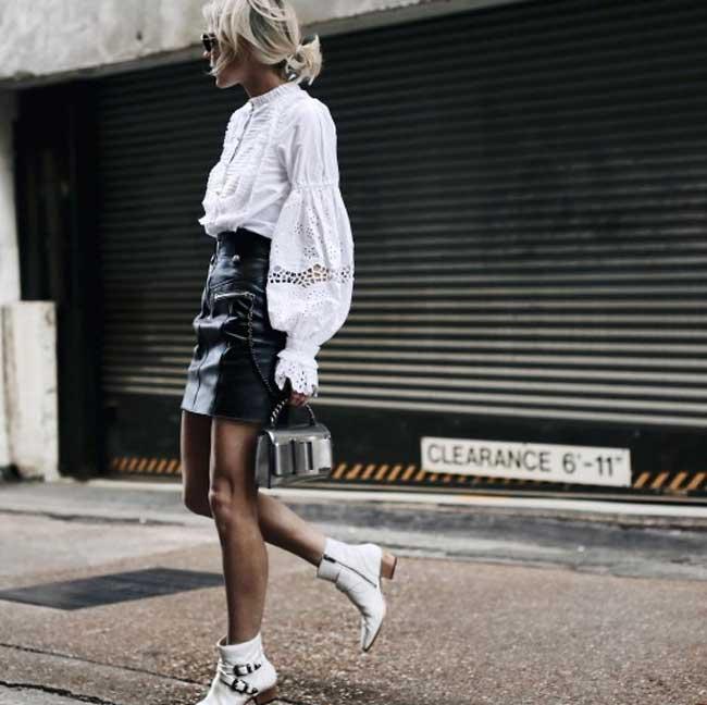 Блуза+кожаная юбка-мини