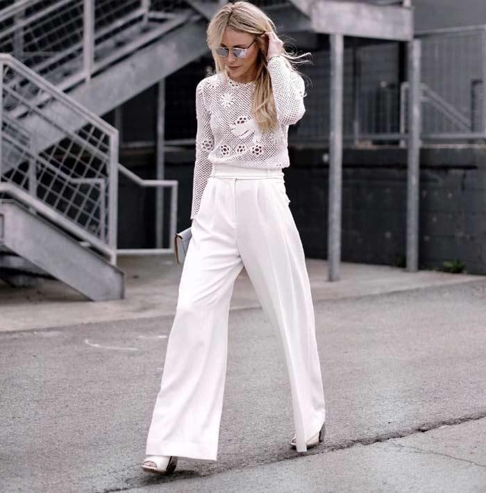 Ажурная блузка+белые брюки