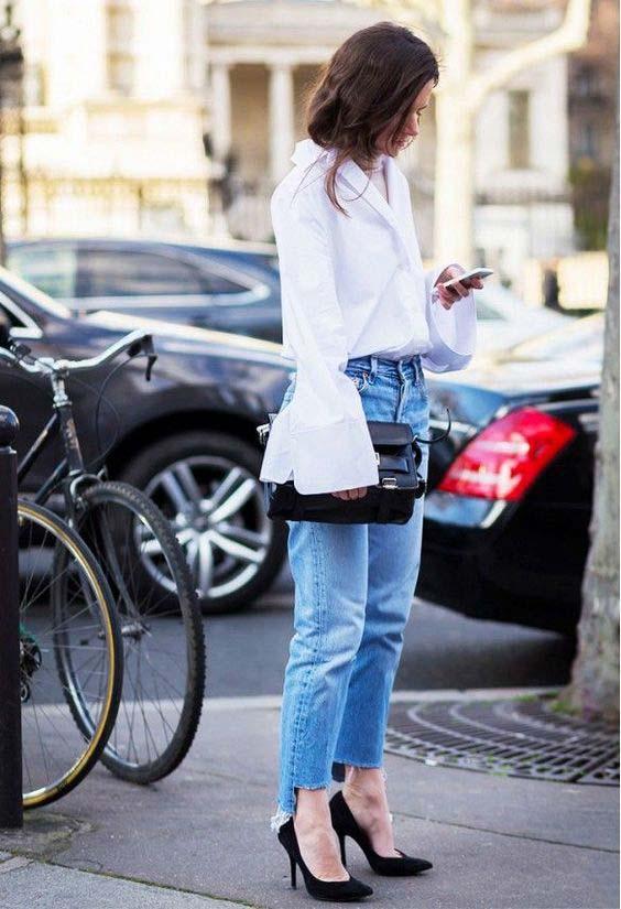 Классическая рубашка рукава колокол + джинсы