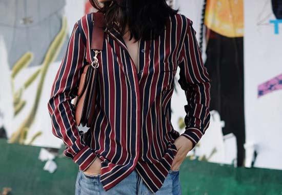 Полосатая рубашка+джинсы