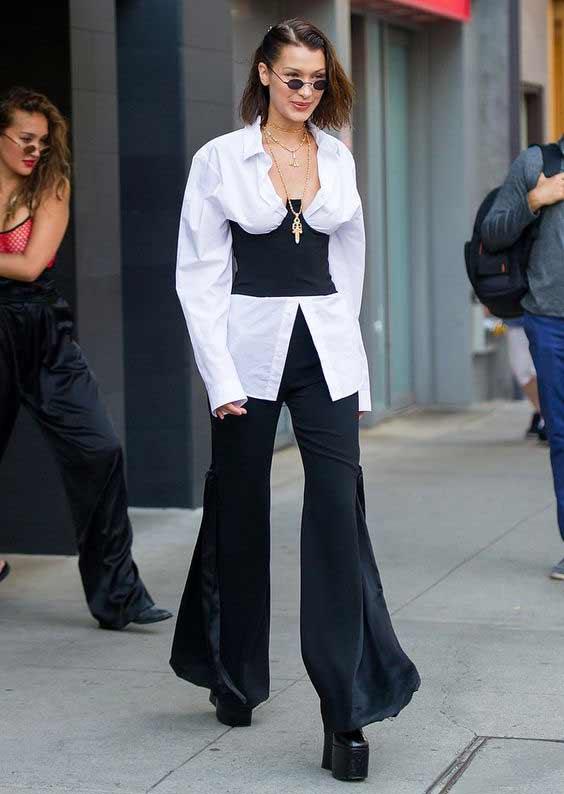 Кедалл Дженнер черно-белый наряд в стиле 90
