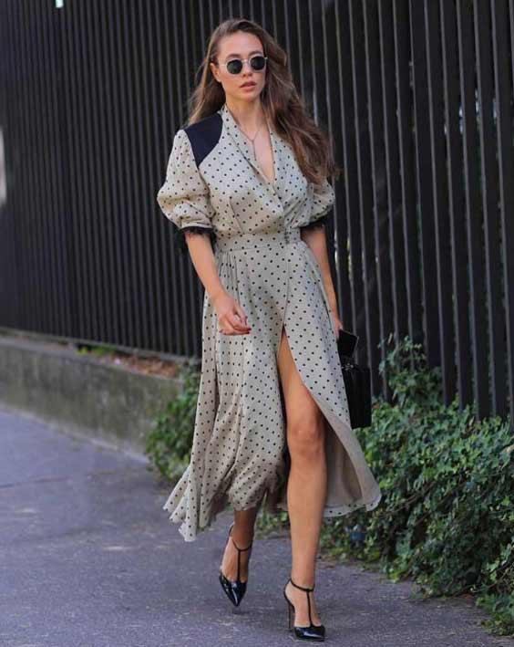 Платье в горошек -офисный стиль