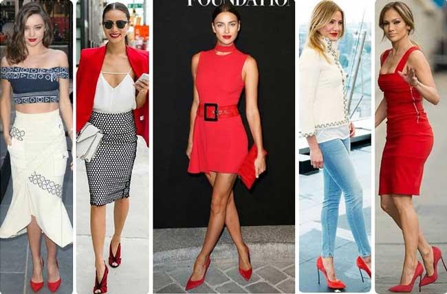 Образы с красными туфлями, стильные и актуальные для 2017