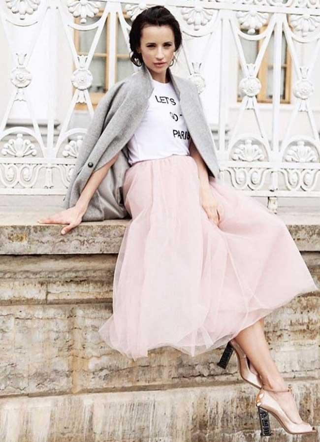 Серый + розовая юбка