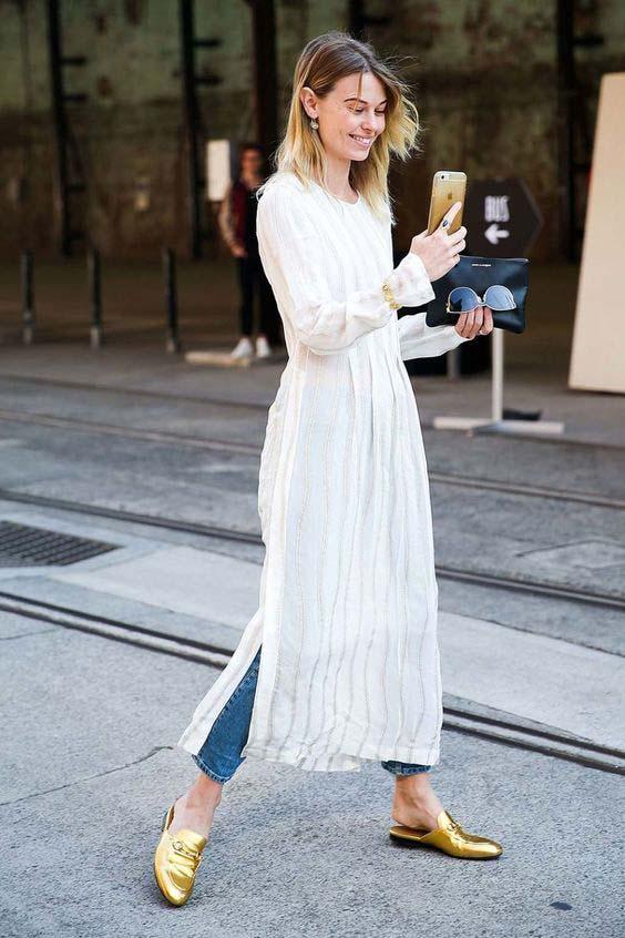 Платье поверх джинсов