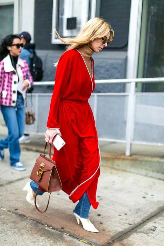 Красное платье+ джинсы