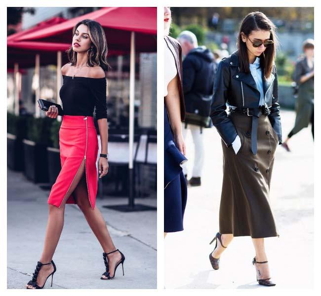 Кожаная юбка миди уличный стиль