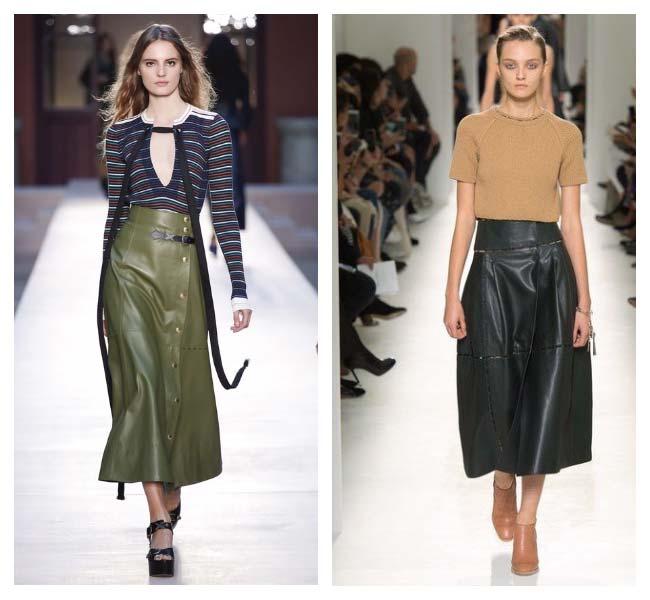 Модная юбка из кожи с показов