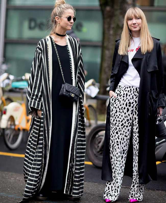 Сочетание черного и белого, уличный стиль