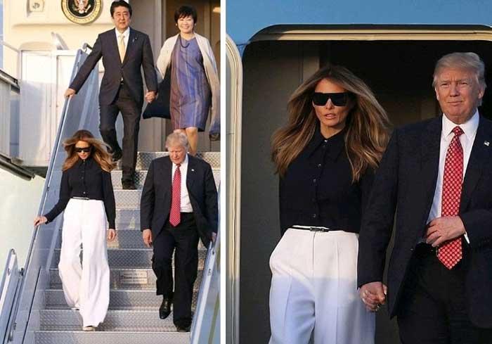 Мелания Трамп белые джинсы и черная блуза