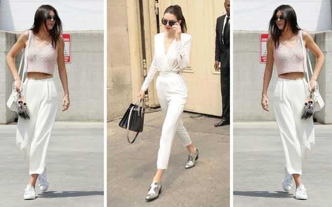 Белла Хадид и Кендалл Дженнер белые брюки