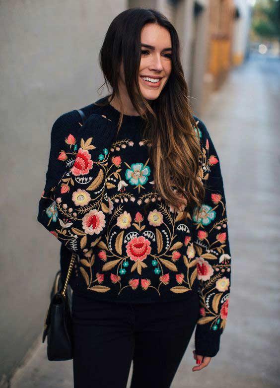 Вышивка контрастные цветы на свитере