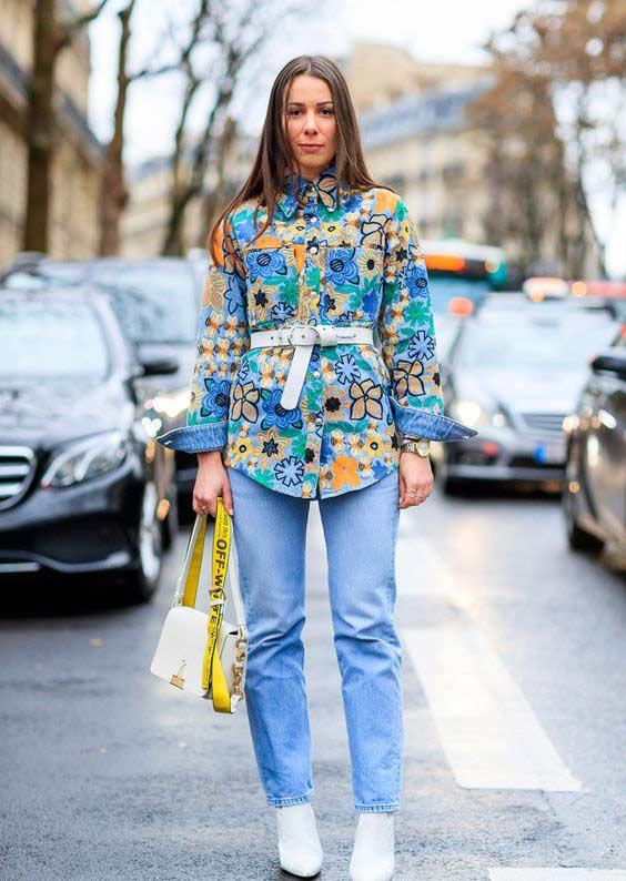 Рубашка с вышивкой+джинсы