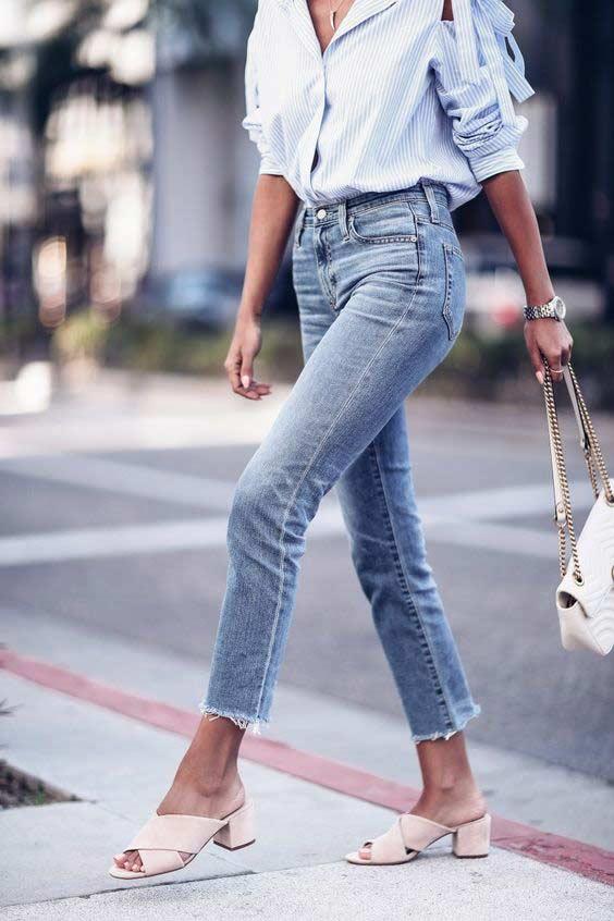 Облегающие джинсы строго по фигуре с бахромой