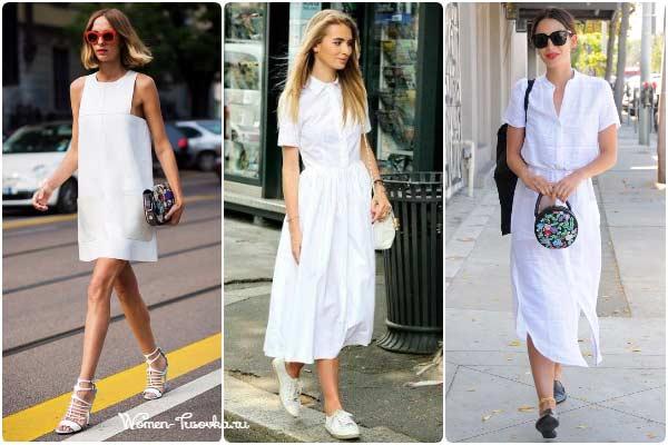 Белое платье в модных образах