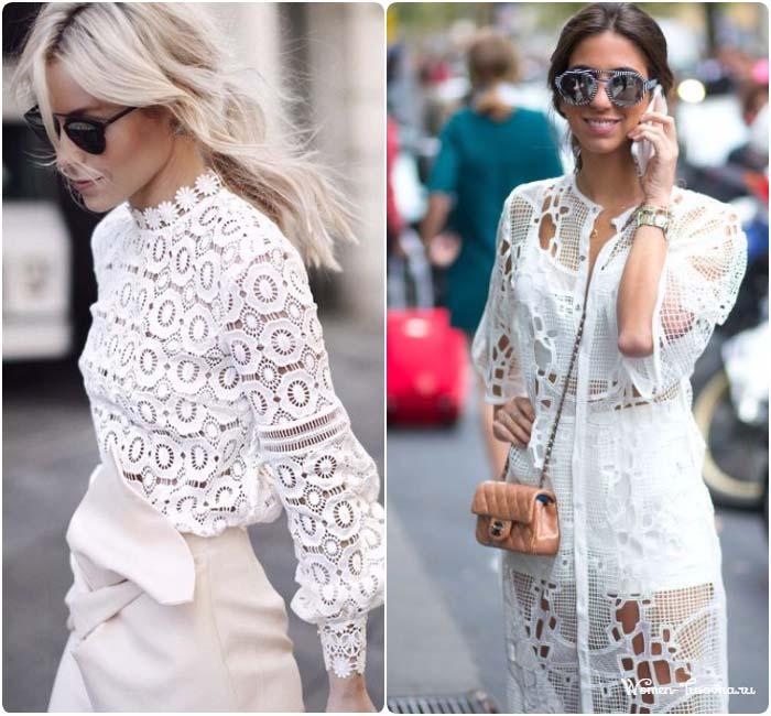 Кружевные блузки удлиненные, белые