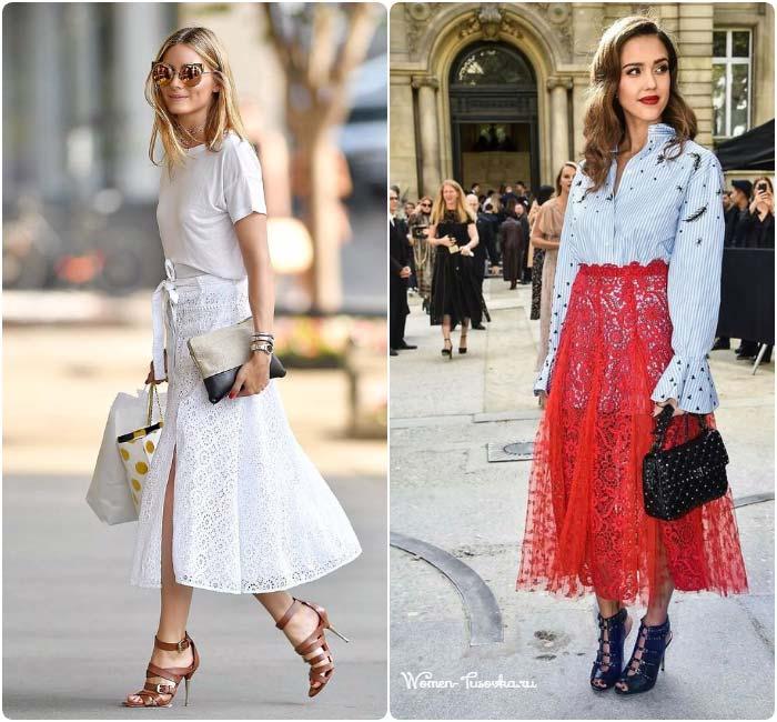 Красная и белая кружевная юбка