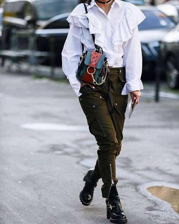 Модный образ с белой блузкой с рюшами
