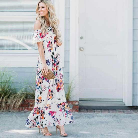 Платье с цветочным принтом, оборками, на лето