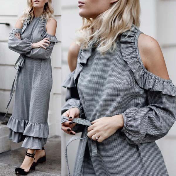 Вырезы и рюши модное платье на лето