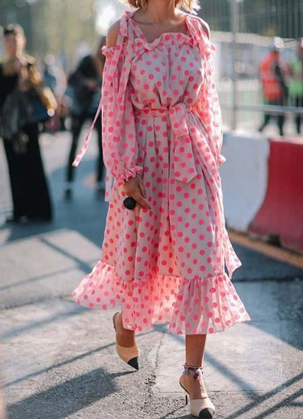 Платье горох, тренд 2017