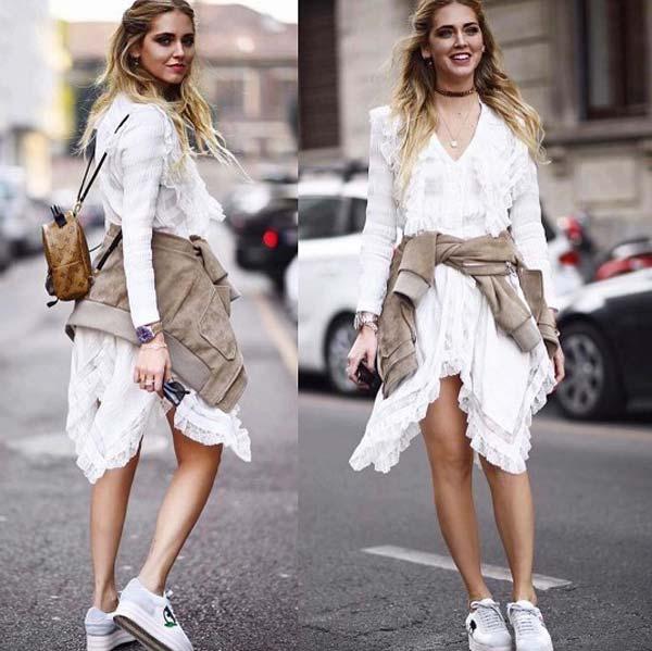Белое асимметричное платье