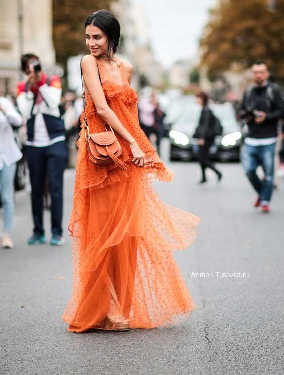 Бохо образ - легкий свободный оранжевый сарафан
