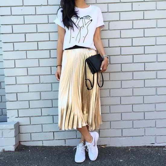 Золотая юбка плиссе