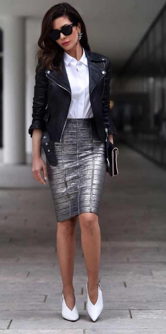Кожаная черная куртка и юбка-карандаш серебристая