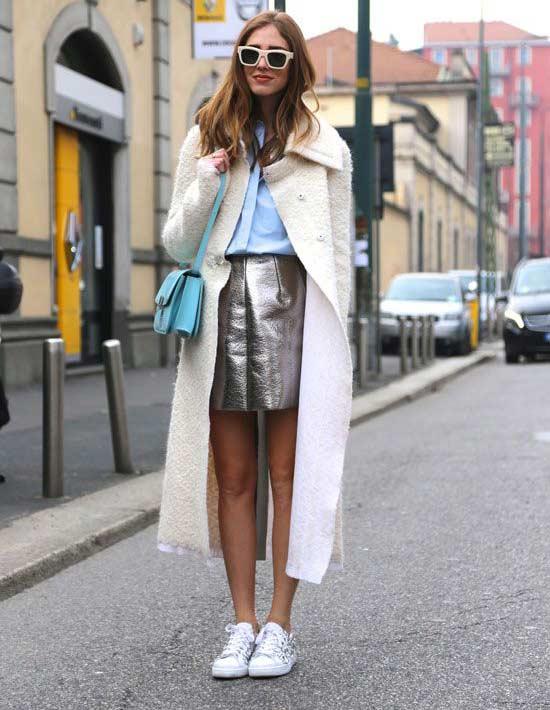 Мини-юбка блестящий материал