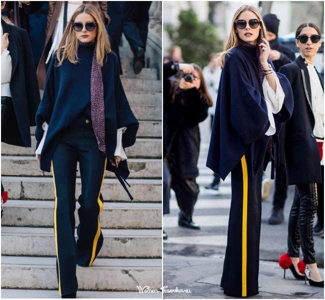 Оливия Палермо, классические брюки с лапасами