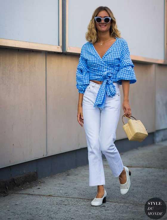 Летний образ со светлыми джинсами