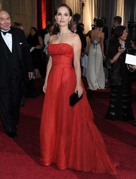 Красное платье, Golden Globes 2017, Натали Портман