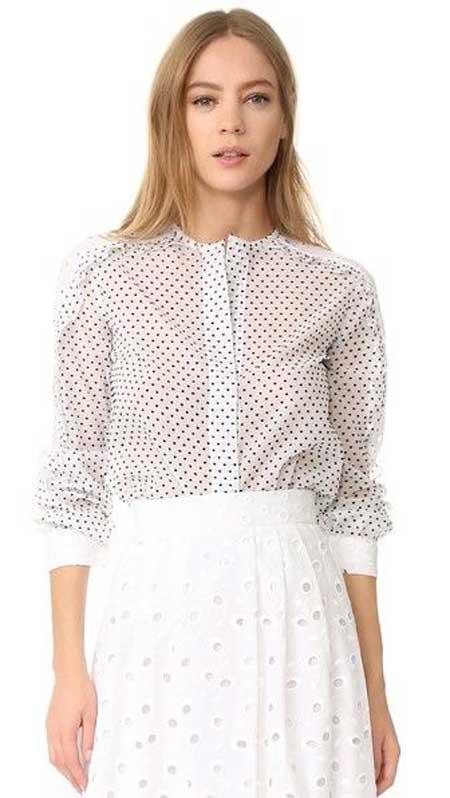 Белая блуза и черный мелкий горошек