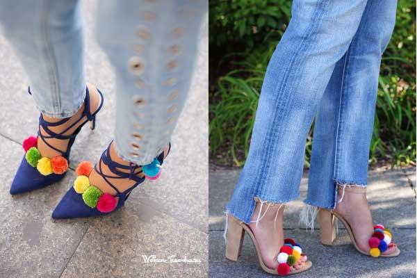 Помпоны украшают летнюю обувь
