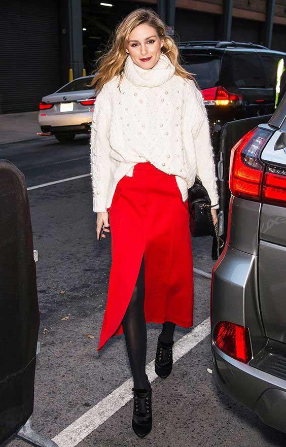 Свитер+красная юбка