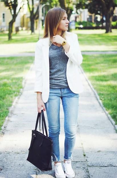 Белый пиджак+джинсы
