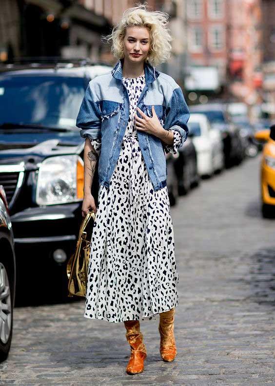 Джинсовая куртка+летящее платье