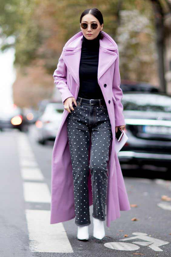 Цветное пальто в пол