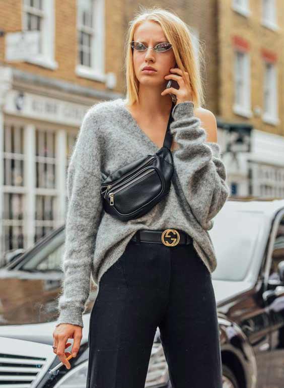belt bag сумка поверх свитера
