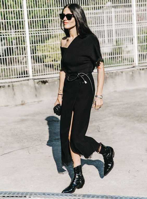 Асимметричное черное платье + ботильоны