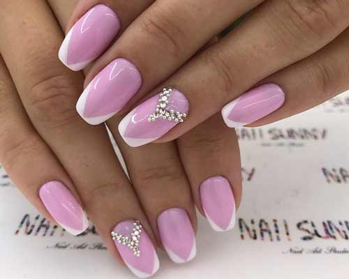 Розовый + белый кончик