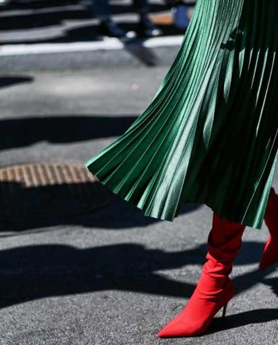 Сапоги носки с юбкой-плиссе