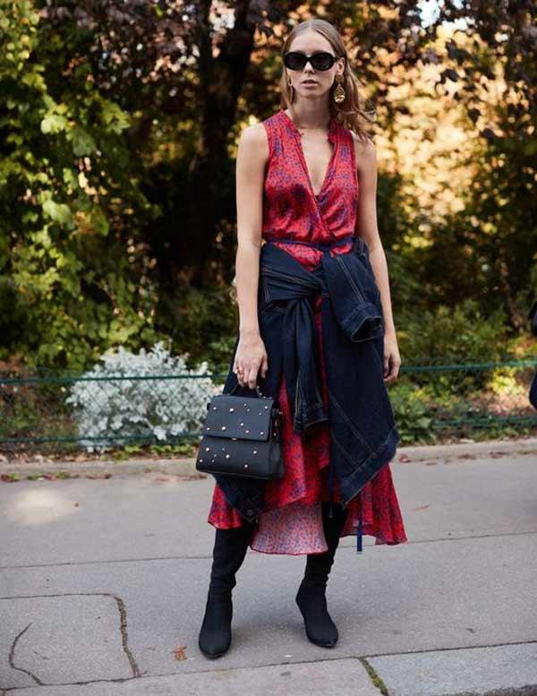 Джинсовая куртка + высокие сапоги + летнее платье