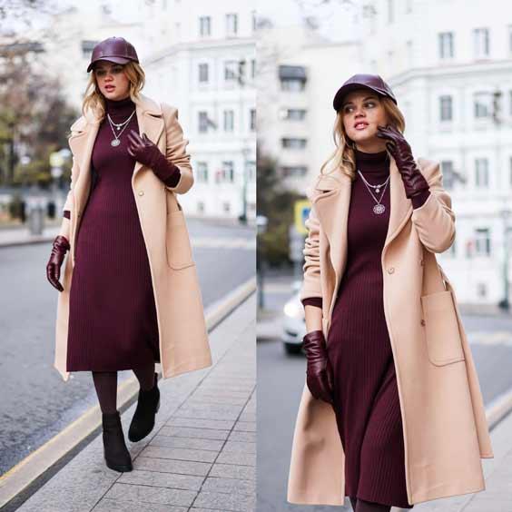 Бежевое пальто + вещи бордового цвета