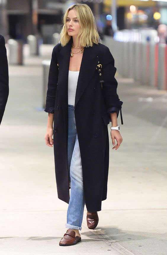 Длинное черное модное пальто