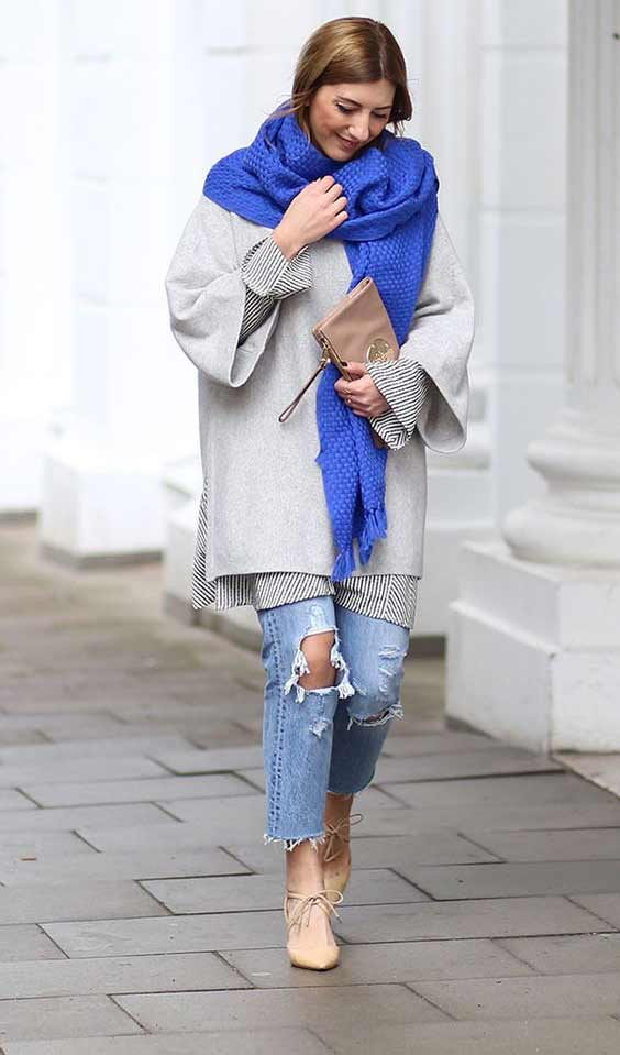 Многослойный образ с платьем свитер
