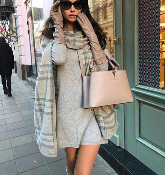Модный образ с платьем свитер