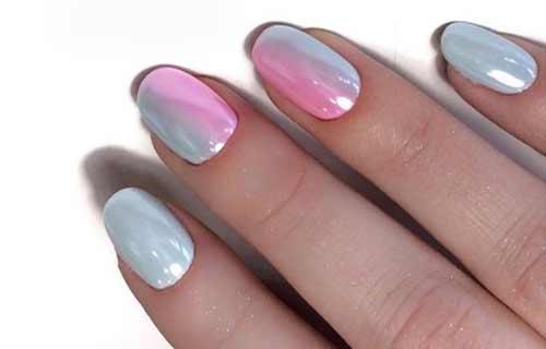 Зеркальный блеск на коротких ногтях