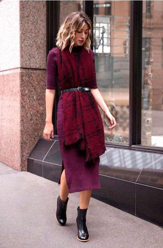 Модное платье с шарфом